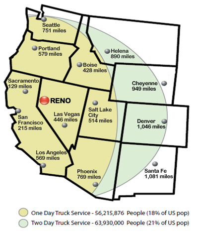 Reno/Sparks Truck Services Map